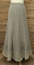 *ZUZA BART*DESIGN OVERSIZE PURE LINEN BEAUTIFUL MAXI SKIRT*DARK BEIGE* XL-XXL