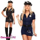 Ladies Black Police Costume Cop Officer Uniform Party Fancy Dress Outfits Hat