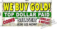 WE BUY GOLD SILVER JEWELRY  YELL TEXT  2' X 4' BANNER h