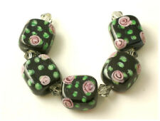 12 Handmade Lampwork Glass Rectangular Beads ROSE