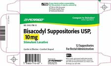 Bisacodyl 12 SUPPOSITORIES Generic Dulcolax 10 MG New Sealed