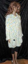 handgestrickt Pullover Ricarda-S Microfaser L XL gelb blau hand knitted sweater