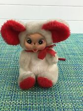 VTG RUSHTON TWEEN STUFF STUFFED ANIMAL TOY MOUSE W PLASTIC FACE RED AND WHITE