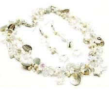 Wood Charm Beach Shell Mother of Pearl Disc Star Beaded White Clear Necklace Set