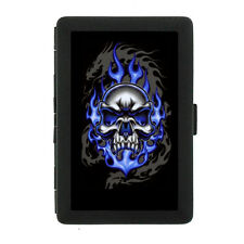 Black Metal Cigarette Case Holder Box Skull Design-015 Blue Skull On Fire