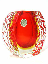 Very Beautiful Campanella SOMMERSO MURANO GLASS VASE ITALY 12,5 cm ORIG. LABEL