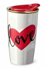 VALENTINE Starbucks LOVE Cup RED HEART Ceramic TRAVELER 12 oz TUMBLER Mug LTD