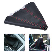 JDM Car PVC Leather Manual Auto Shifter Shift Knob Boot Cover Black+Red Strip