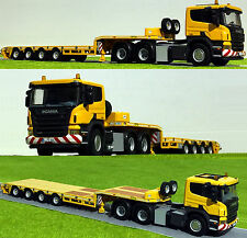 WSI TRUCK MODELS,SCANIA P5 FLAT ROOF 6x4 SEMI LOW LOADER 4 AXLE