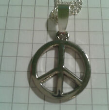 """SILVER PLATED  2 CM PEACE SIGN"""" ON SILVER PLATED CHAIN NECKLACE 18""""o r 20"""""""