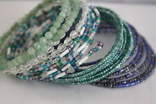 Four Beaded Handmade Seed Beaded Wire Wrap Memory Braclets Blue Purple Green