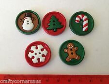 Christmas Circles with Snowflake Tree Gingerbread Candy Novelty Buttons 6280