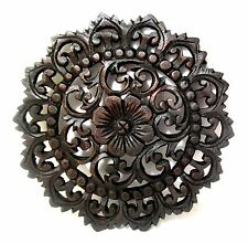 "Teak Wood Round Flower Wall Plaque Meditation Yoga Hand Carved Sculpture 12"" FR1"
