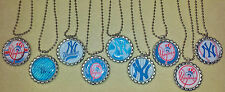 "SET OF 9 ""NEW YORK YANKEES"" FLAT BOTTLECAP NECKLACES! party favors"