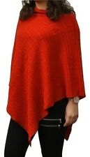 100% Pure Cashmere Cable Knit Poncho in Vibrant Ruby Red, Handcrafted In Nepal
