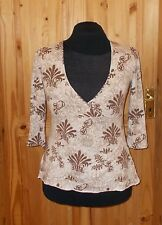 NEXT cream beige brown paisley gold sequin v neck 3/4 sleeve tunic top 14 42