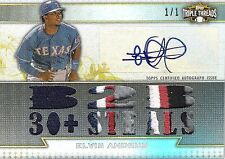 Elvis Andrus 2011 Topps Triple Threads Autograph & 5-Color Patch True 1/1 Mint