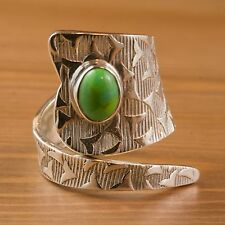 New 925 Sterling Silver Genuine Green Turquoise Beautiful Sizable Wrap Ring