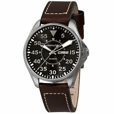 NEW Hamilton H64611535 Men's Khaki King Pilot Black Dial Brown Leather SS Watch