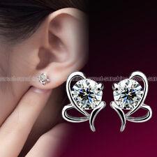 Fashion 925 Sterling Silver Women Heart Crystal Rhinestone Ear Stud Earrings