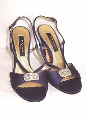 AMAZING NINA N.Y PURPLE SATIN/RHINESTONES EVENING, WEDDING HEELS 7/37 MINT