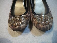 MARC FISHER Ladies Sz 5 1/2 M Browns Textile Jeweled Ballet FLATS Free Ship