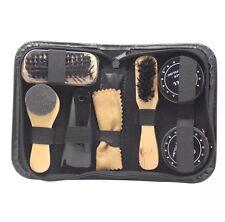 8 in 1 Black Neutral Shoe Shine Polish Cleaning Brushes Set Kit Travel Case NEW!