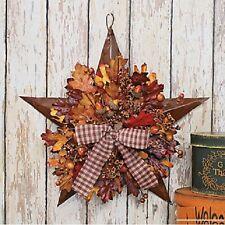 "Fall Leaves & Berries Rustic Metal Barn Star Hanging Wall Art w/Gingham Bow 13""W"