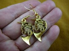 (M208-H) Holton FRENCH HORN 24k gold plt earrings JEWELRY horns earring pierced