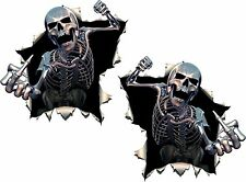 2x Skulls Skeleton Middle Finger Stickers Giving Punch Fist Angry Bike Moto #36