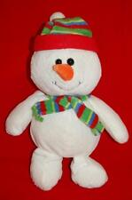 Christmas Holiday Winter Snowman Carrot Nose Red Green Blue Hat Scarf Plush 12""