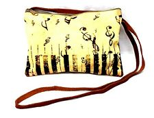 Music note sling purse leather strap tan yellow treble clef NWT
