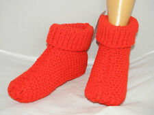 Hand knit Knitwitz design Slipper socks ladies size 4-7uk Red