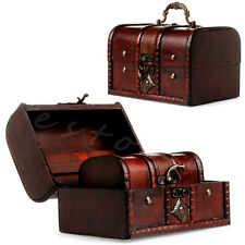 2pcs New Wooden Pirate Jewellery Storage Box Case Holder Vintage Treasure Chest