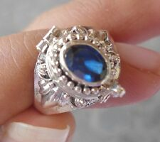 RP186-925 Sterling Silver Balinese Poison/Locket Ring With Blue Sapphire Size 7