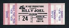 1978 Billy Joel Unused Full Concert Ticket Jackson MS 52nd Street Big Shot