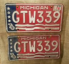 Vintage Pair 1976 Michigan Bicentennial Automobile License Plate Tags GTW 339