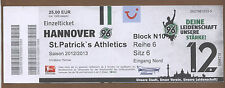 Orig.Ticket   Europa League 12/13   HANNOVER 96 - St.PATRICK`s ATHLETICS !! RARE