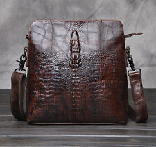 Men's Crocodile Leather Vintage Shoulder Messenger Business Briefcase Bag Pack