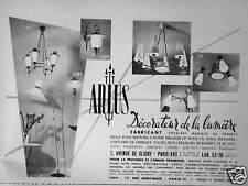PUBLICITÉ 1954 ARLUS DÉCORATEUR DE LA LUMIÈRE LUSTRE - ADVERTISING