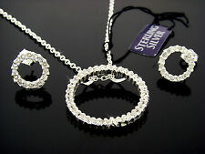 .925 STERLING SILVER CIRCLE OF LOVE/LIFE  BRIOLITE PENDANT & EARRING SET