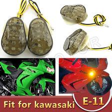 Smoke Kawasaki LED Flush Mount Turn Signals Light ZX 6R 10R Ninja 2003 2004 2006