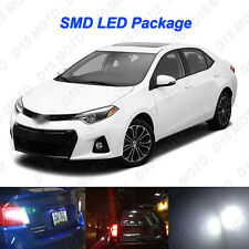 8x Ultra White Reverse + Tag + Interior LED Lights for 2015 2016 Toyota Corolla