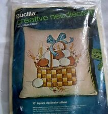 New Vtg Bucilla All Your Eggs In A Basket Farm Chicken Crewel Pillow Kit #2031