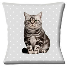 "NEW CUTE PET GREY CAT ON PALE GREY WITH WHITE POLKA DOT 16"" Pillow Cushion Cover"