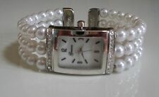 DESIGNER SILVER FINISH ELEGANT PEARL WATCH BANGLE