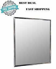 Wall Mounted Small Mirror Modern Silver Framed Lightweight Bathroom 10x12in NEW
