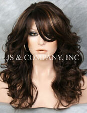 Brown Strawberry Blonde mix Wig Big Curly Wavy Wig with Long Bangs BL 4-27