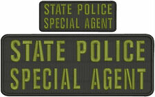 State police Special agent embroidery patch 4x10 and 2x5 hook on back black