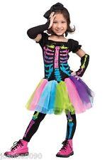 Niño Niña Halloween Arcoiris Hueso Neón Esqueleto Disfraz Disfraz Tutú Edad 3 4